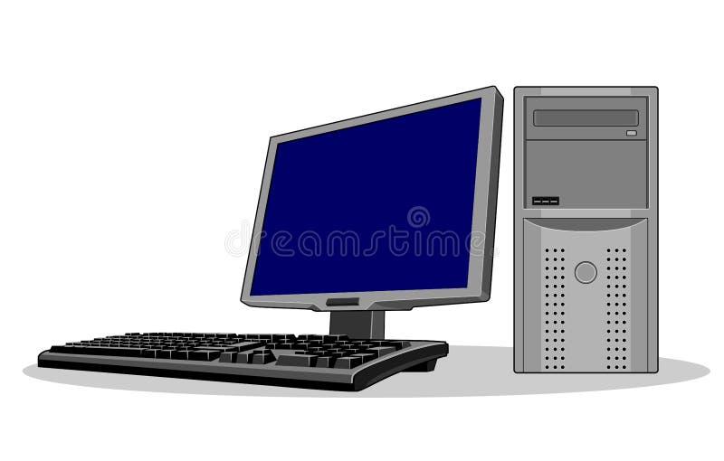 Het computersysteem blauwe scherm vector illustratie