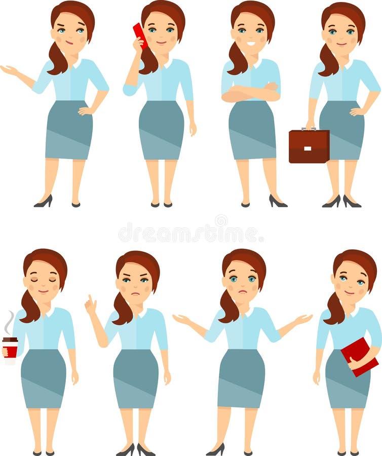 Het concept bedrijfsvrouw in verschillend stelt vector illustratie