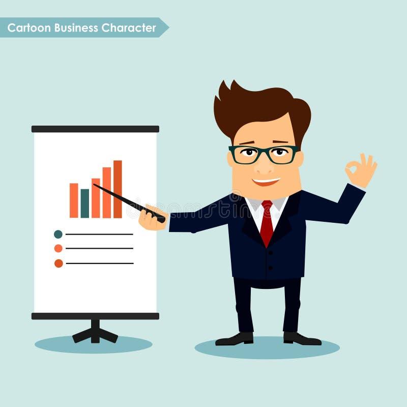 Het concept beeldverhaal van de bedrijfskarakterpresentatie vector illustratie