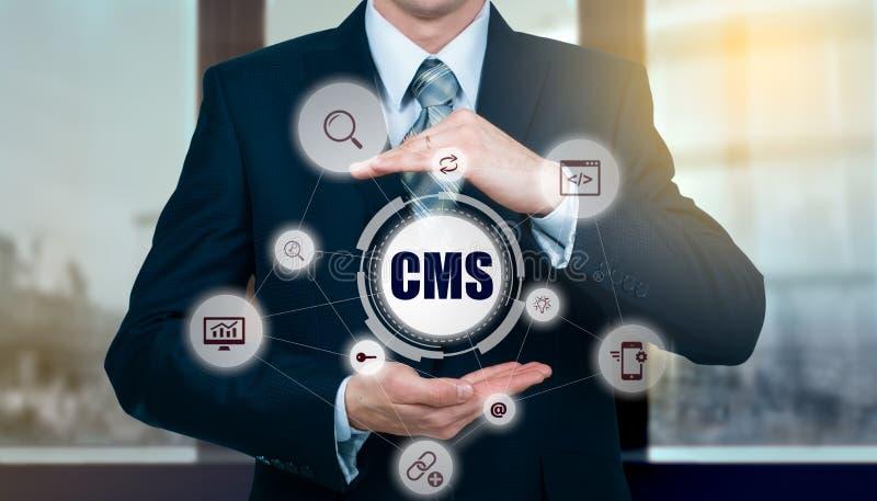 Het concept beleid van de het systeemwebsite van het cms het tevreden beheer stock foto's