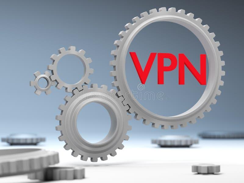 Het concept bescherming en verkeersencryptie via VPN-technologie op Internet stock illustratie