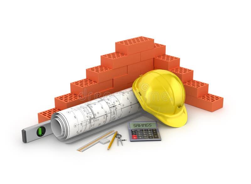 Het concept besparing op bouwmaterialen stock illustratie
