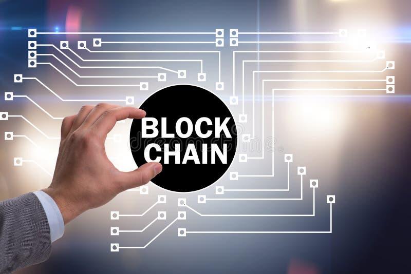 Het concept blockchain in moderne zaken stock foto