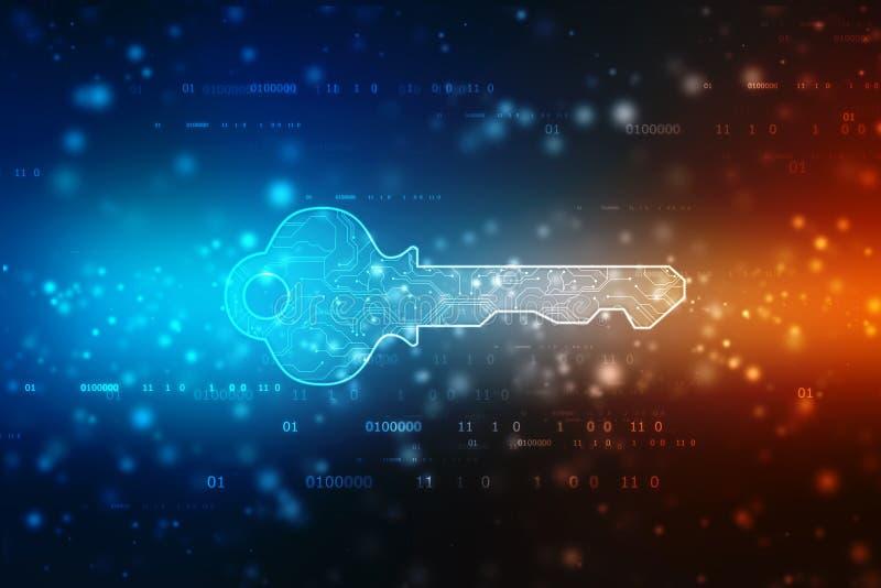 Het concept cyberveiligheid of persoonlijke sleutel, vat digitale sleutel op technologieachtergrond samen, de achtergrond van het stock afbeeldingen