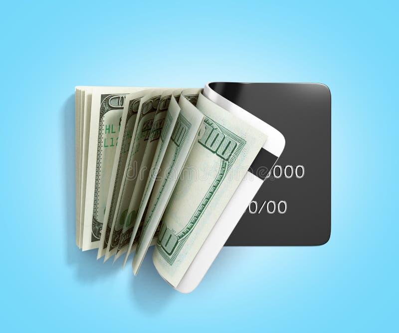 Het concept de betaling van de contant geldterugtrekking door de rekeningendaling van de kaartdollar uit de kaart van hoogste 3d  stock illustratie