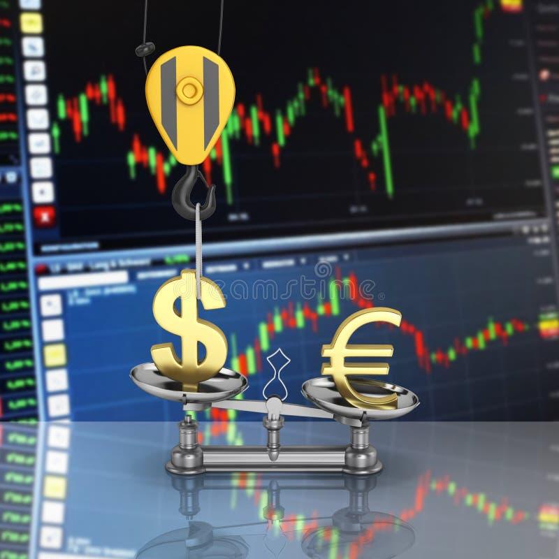 Het concept de dollar van de wisselkoerssteun versus euro de kraan heft de dollar op en vermindert de euro op beursachtergrond stock illustratie