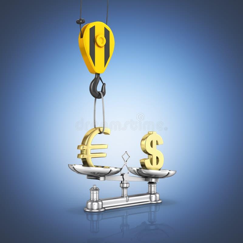 Het concept de dollar van de wisselkoerssteun versus euro de kraan heft de euro op en vermindert de dollar op donkerblauwe gradi? stock illustratie