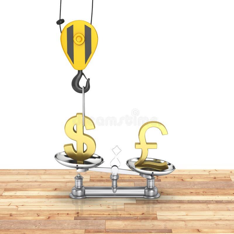 Het concept de dollar van de wisselkoerssteun versus euro de kraan heft de dollar op en vermindert het pond Sterling op houten vl stock illustratie