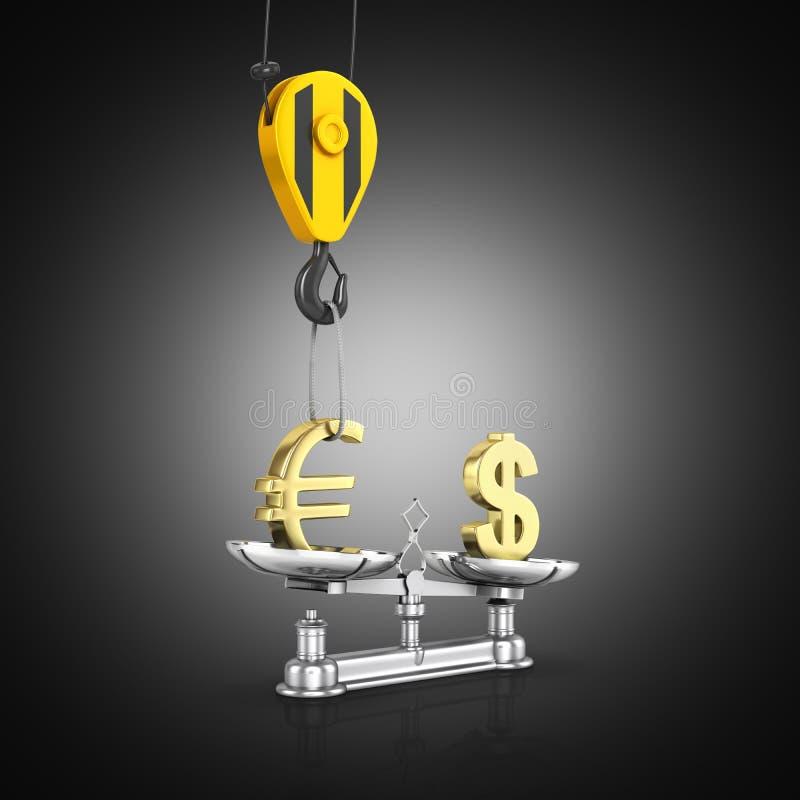 Het concept de dollar van de wisselkoerssteun versus euro de kraan heft de euro op en vermindert de dollar op zwarte 3d gradiënta stock illustratie