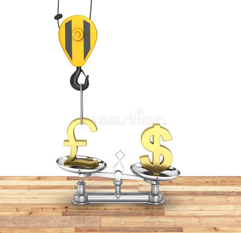Het concept de dollar van de wisselkoerssteun versus euro de kraan heft het pond op en vermindert de dollar echt op houten vloer  stock illustratie