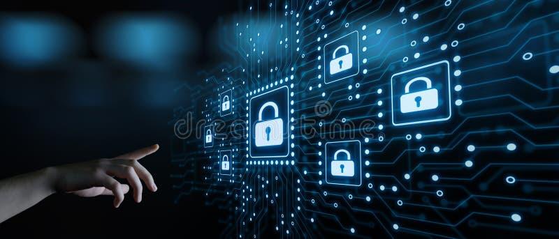 Het concept de Gegevensbescherming van de van de Bedrijfs cyberveiligheid Technologieprivacy stock afbeelding