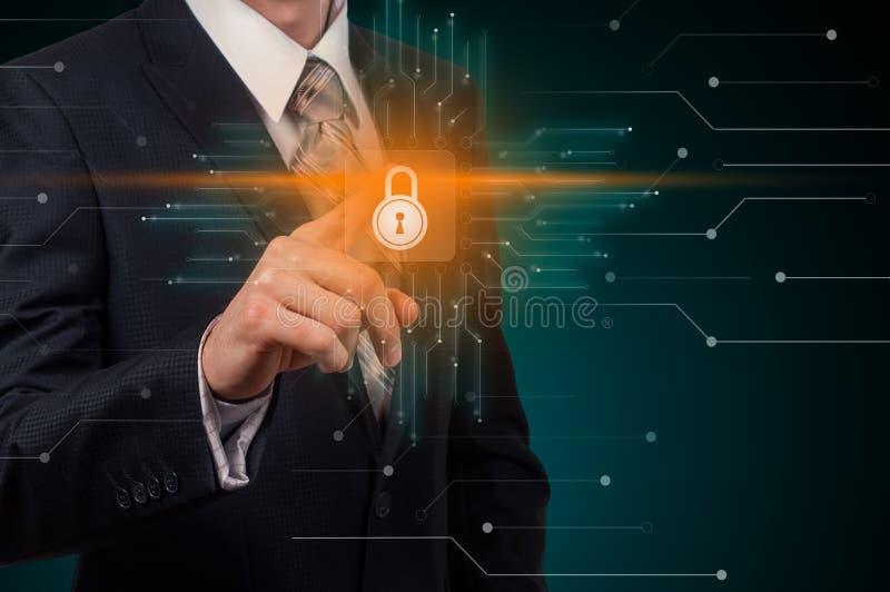Het concept de Gegevensbescherming van de van de Bedrijfs cyberveiligheid Technologieprivacy vector illustratie