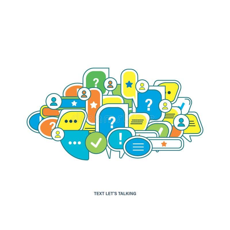 Het concept dialoog, toespraak borrelt met symbolenmededeling stock illustratie