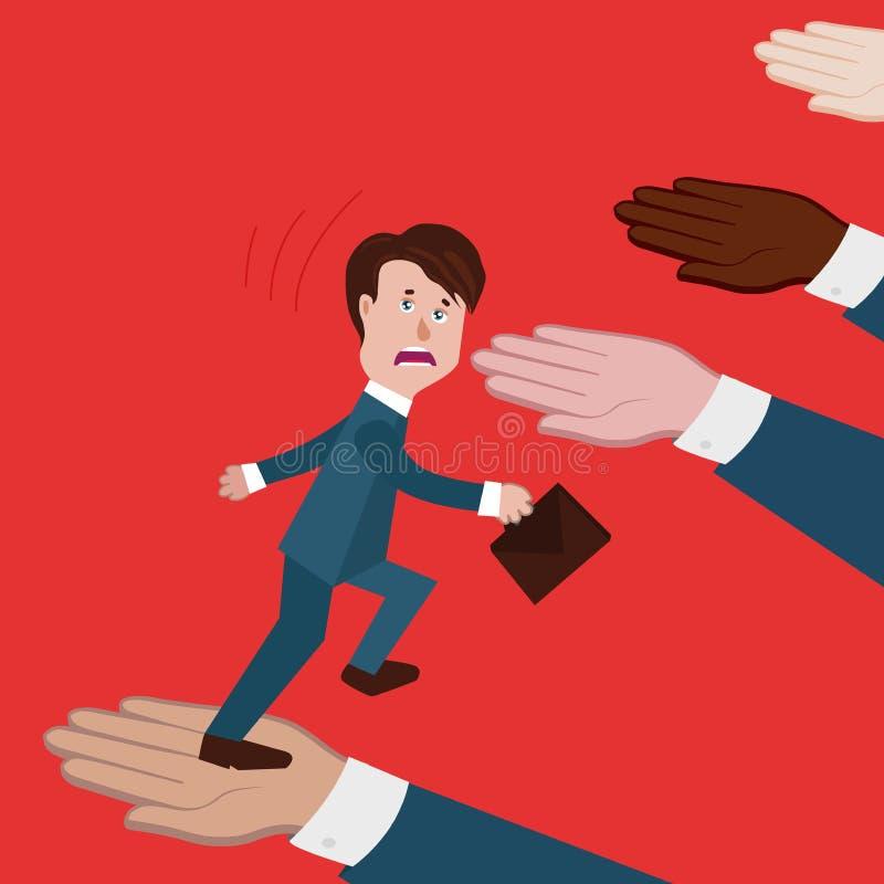 Het concept doen ineenstorten bedrijfsinstorting, team, teleurstelling, collega's of partners hielp niet, geen steun, gaat de zak stock illustratie