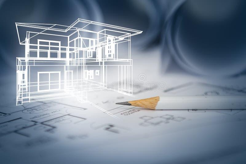 Het concept droomhuis trekt door ontwerper met bouw drawin stock afbeeldingen