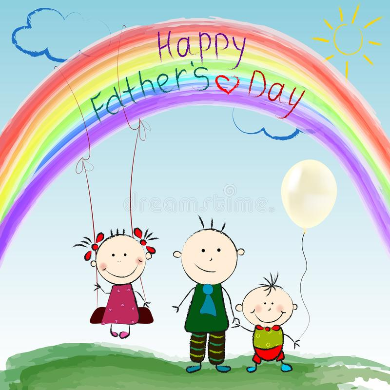 Het concept een gelukkige Vader Kind` s tekening van gelukkige vader` s dag die kleurpotlood gebruiken royalty-vrije illustratie