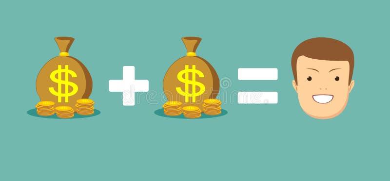 Het concept geld brengt u geluk vector illustratie