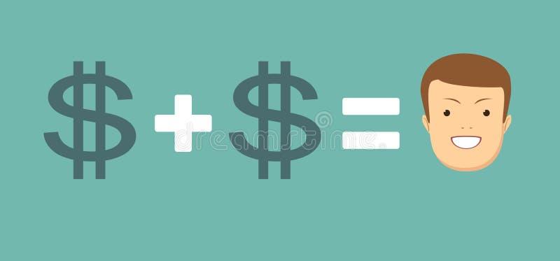 Het concept geld brengt u geluk royalty-vrije illustratie