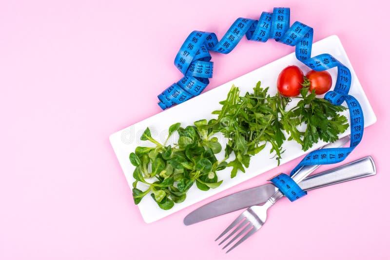 Het concept gewichtsverlies Dieetvoeding, groene salade royalty-vrije stock foto's