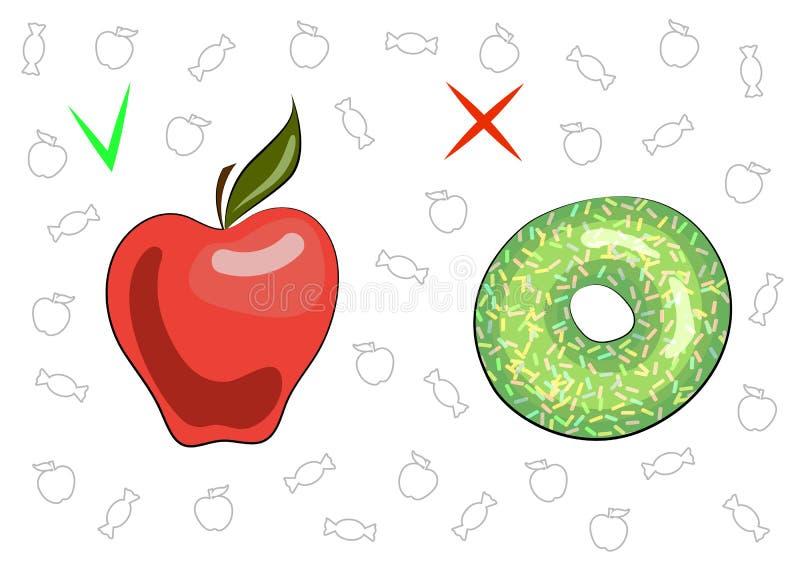 Het concept gezond en schadelijk voedsel Sappige smakelijke appel en zoete doughnut De voordelen en het kwaad van voedsel Fruit e royalty-vrije illustratie
