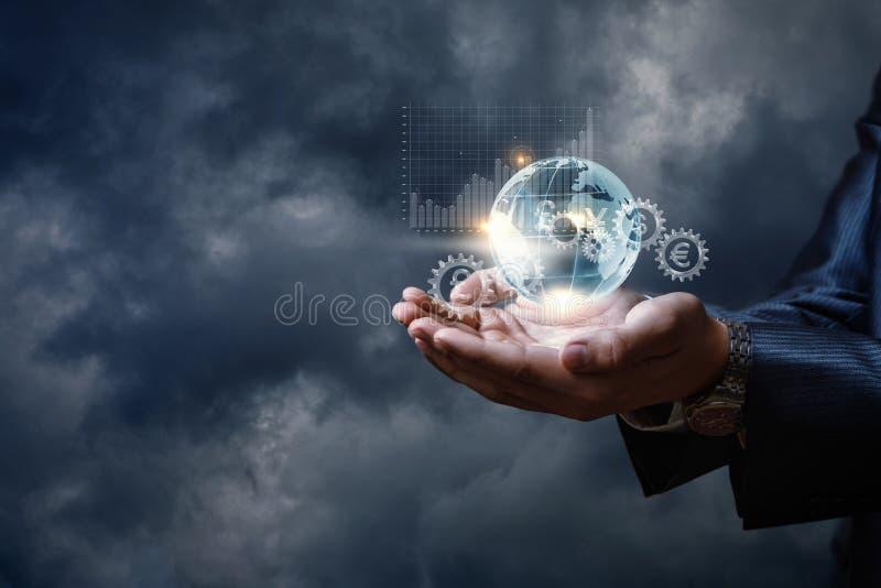 Het concept is het globale financiële systeemprincipe stock afbeeldingen