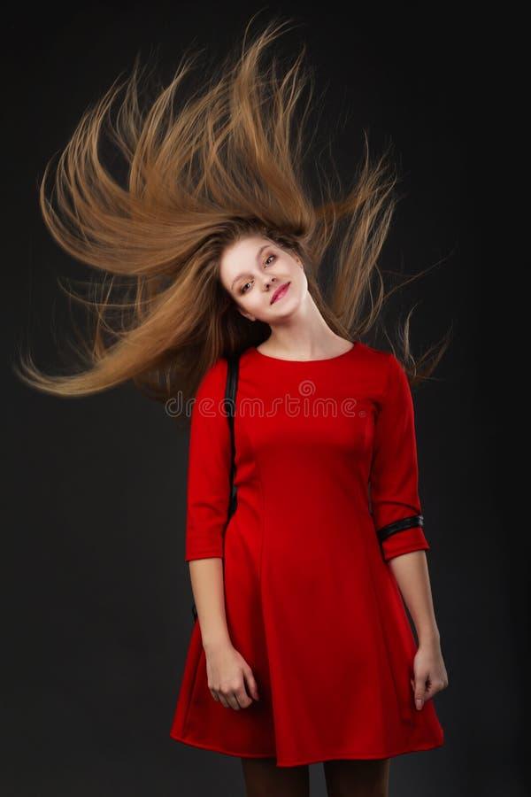 Het concept haarverzorgingproducten Gezond lang glanzend haar stock foto