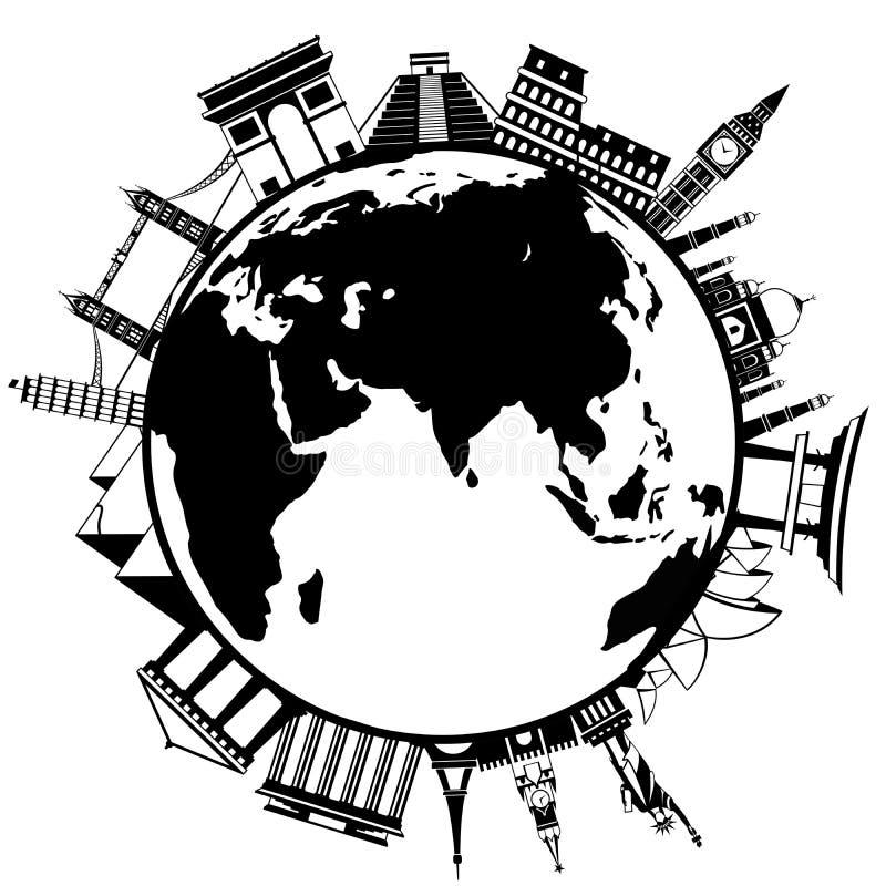 Het concept het reizen rond de wereld stock illustratie