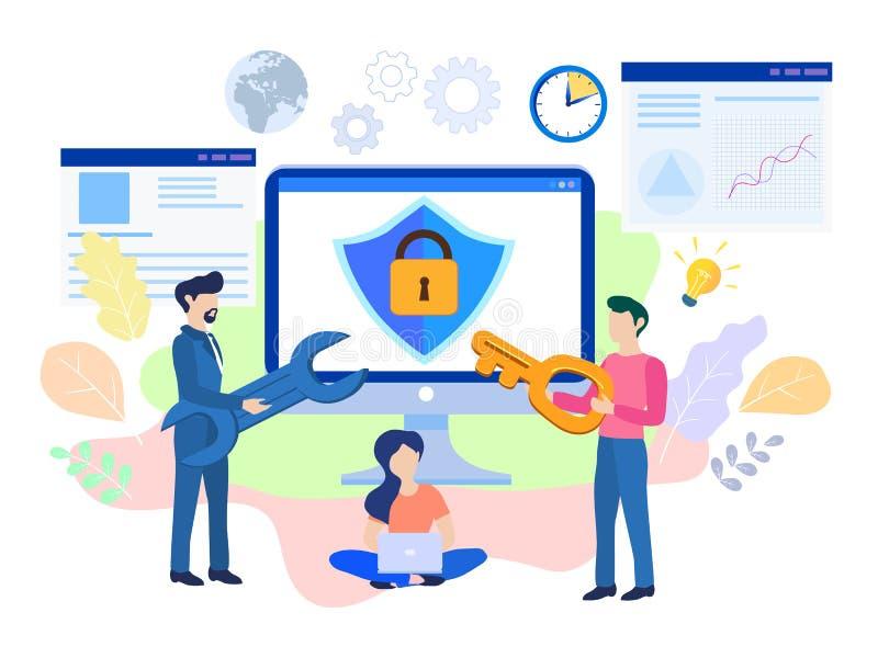Het concept is Internet, gegevensbeveiligingtoegang, bescherming, Computer stock illustratie