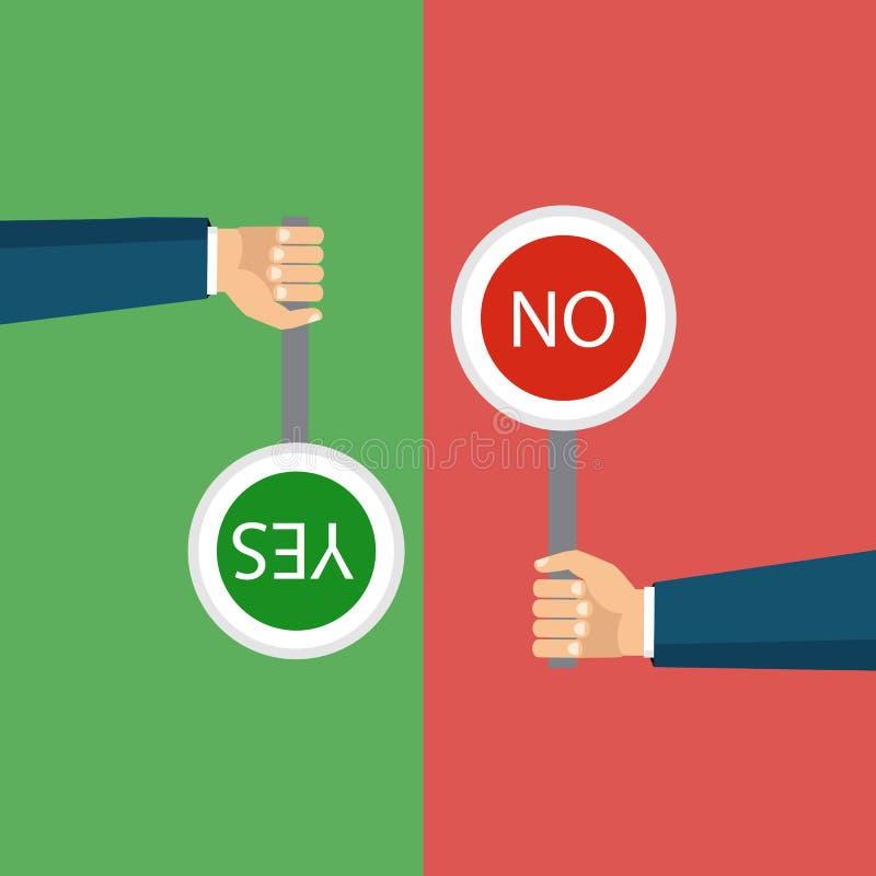 Het concept keus, de juiste keus en een verkeerd besluit stock illustratie