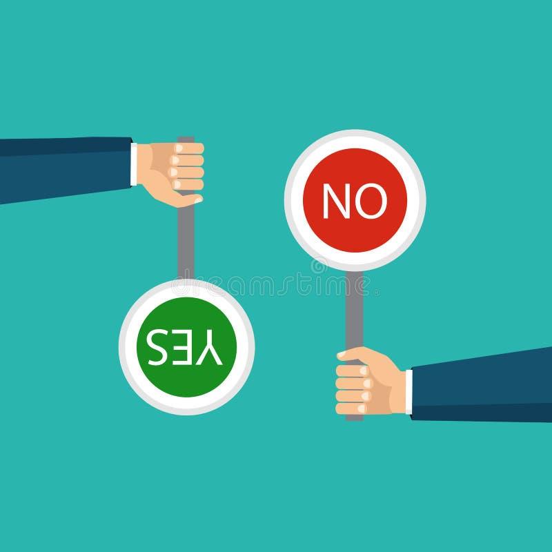 Het concept keus, de juiste keus en een verkeerd besluit B stock illustratie