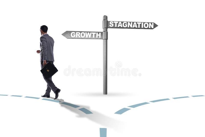 Het concept keus tussen de groei en stagnatie stock afbeelding