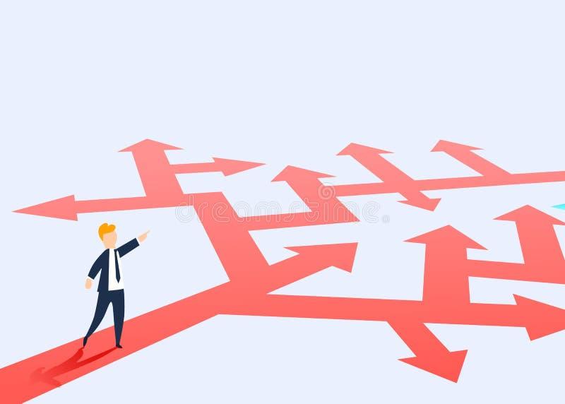 Het concept het kiezen van de manier van zaken en een zakenman die de richting tonen Probleem het oplossen, manier aan succes vector illustratie