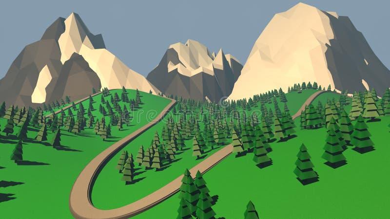 Het concept landschap met sparren en sneeuwbergen 3d vector illustratie