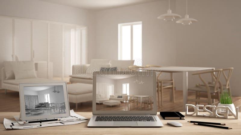 Het concept, laptop en de tablet van de architectenontwerper op houten het werkbureau met het scherm die binnenlands ontwerpproje stock fotografie