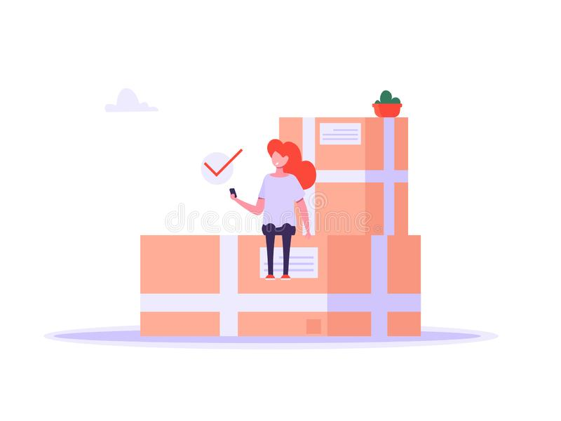 Het concept levering, het verschepen, de online dienst, koppelt terug royalty-vrije illustratie