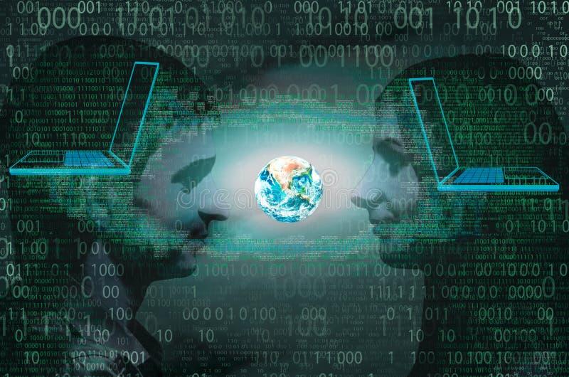 Het concept mededeling wereldwijd over Internet royalty-vrije stock foto