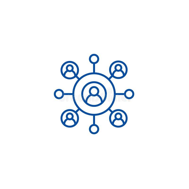 Het concept netwerk van het bedrijfslijnpictogram Netwerk bedrijfs vlak vectorsymbool, teken, overzichtsillustratie stock illustratie