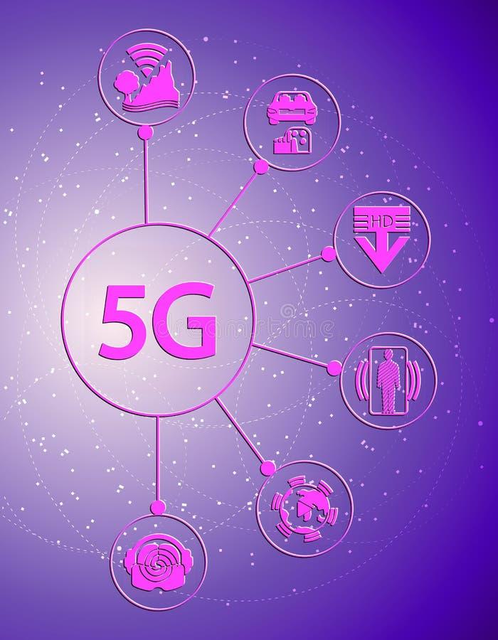 Het concept nieuwe telecommunicatietechnologieën Rozet met pictogrammen op de achtergrond van abstracte achtergrond stock illustratie