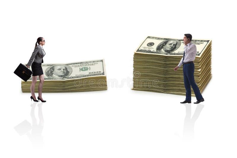 Het concept ongelijk loon en geslachtshiaat tussen man vrouw stock afbeelding