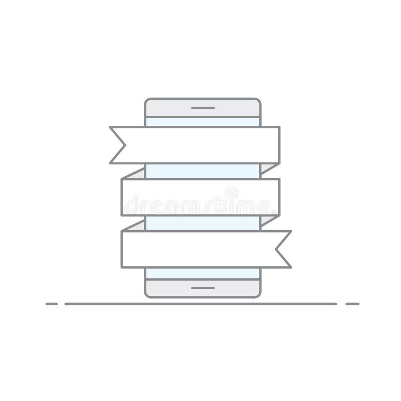 Het concept reclamebeelden met het kronkelen van vlaggen voor het posten van informatie over een mobiele telefoonachtergrond Vect royalty-vrije illustratie