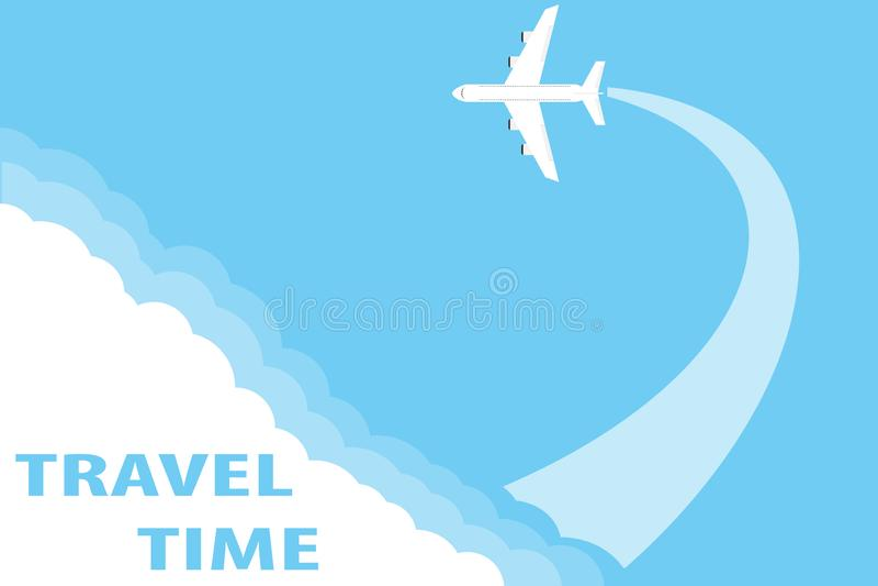 Het concept het reizen door vliegtuig Vliegend vliegtuig van de wolken tegen de blauwe hemel stock illustratie
