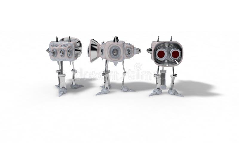 Het concept robot voor het gebruiken is ruimte, 3d geef terug stock illustratie