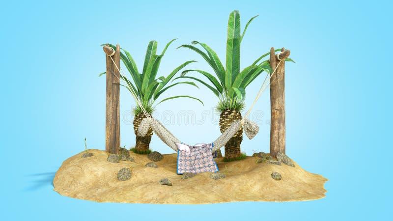 Het concept rust zandeiland en de hangmat op houten 3d pijlers geven op blauwe gradiënt terug stock illustratie