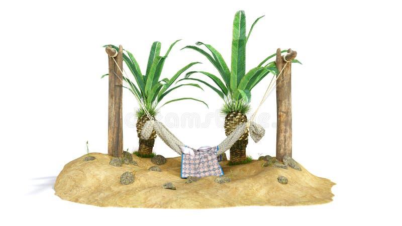 Het concept rust zandeiland en de hangmat op houten 3d pijlers geven terug vector illustratie