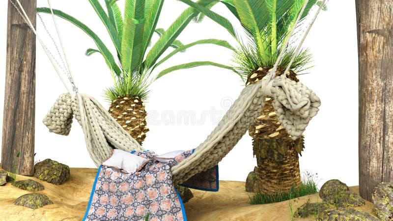 Het concept rust zandeiland en de hangmat op houten 3d pijlers geven op wit terug royalty-vrije illustratie