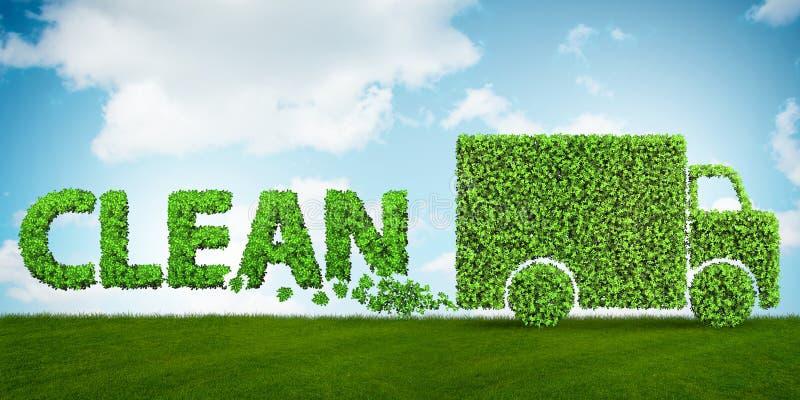 Het concept schone brandstof en eco vriendschappelijke auto's - het 3d teruggeven stock illustratie