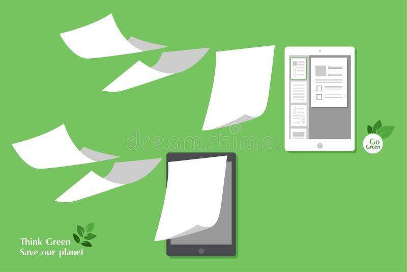 Het concept stapel witte paperless gaat groen stock illustratie