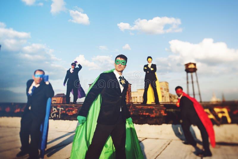 Het Concept Strandvoltooiing van de het bedrijfs van Superheroes stock foto