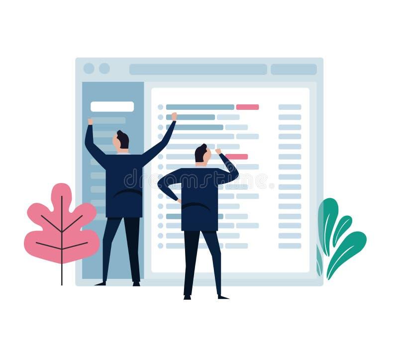 Het concept het teamwerk vertegenwoordigt in klein karakter die aan het grote e-mailtoepassingsscherm werken Ontwikkel me leiden  royalty-vrije illustratie