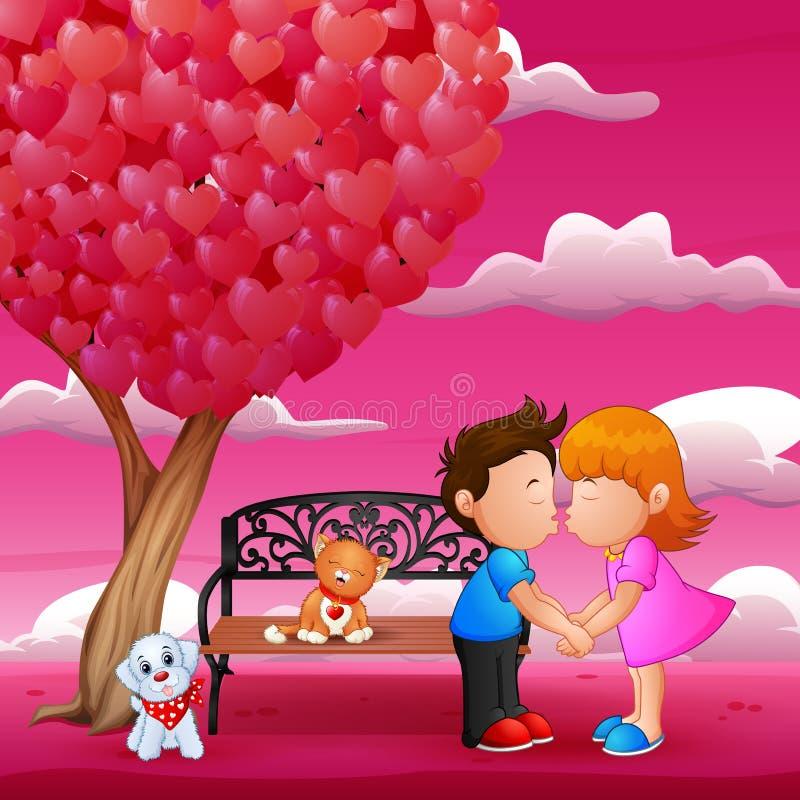 Het concept valentijnskaartdag, twee bekoorde onder een liefdeboom in de lentetijd stock illustratie